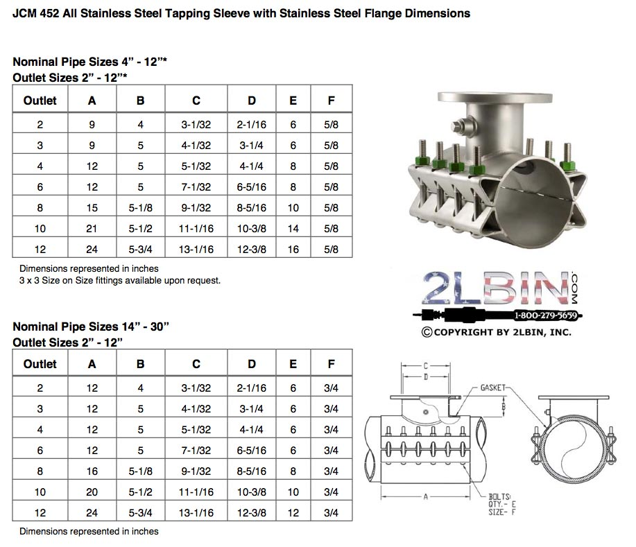 452 All Stainless steel Tapping Saddle Dimensions