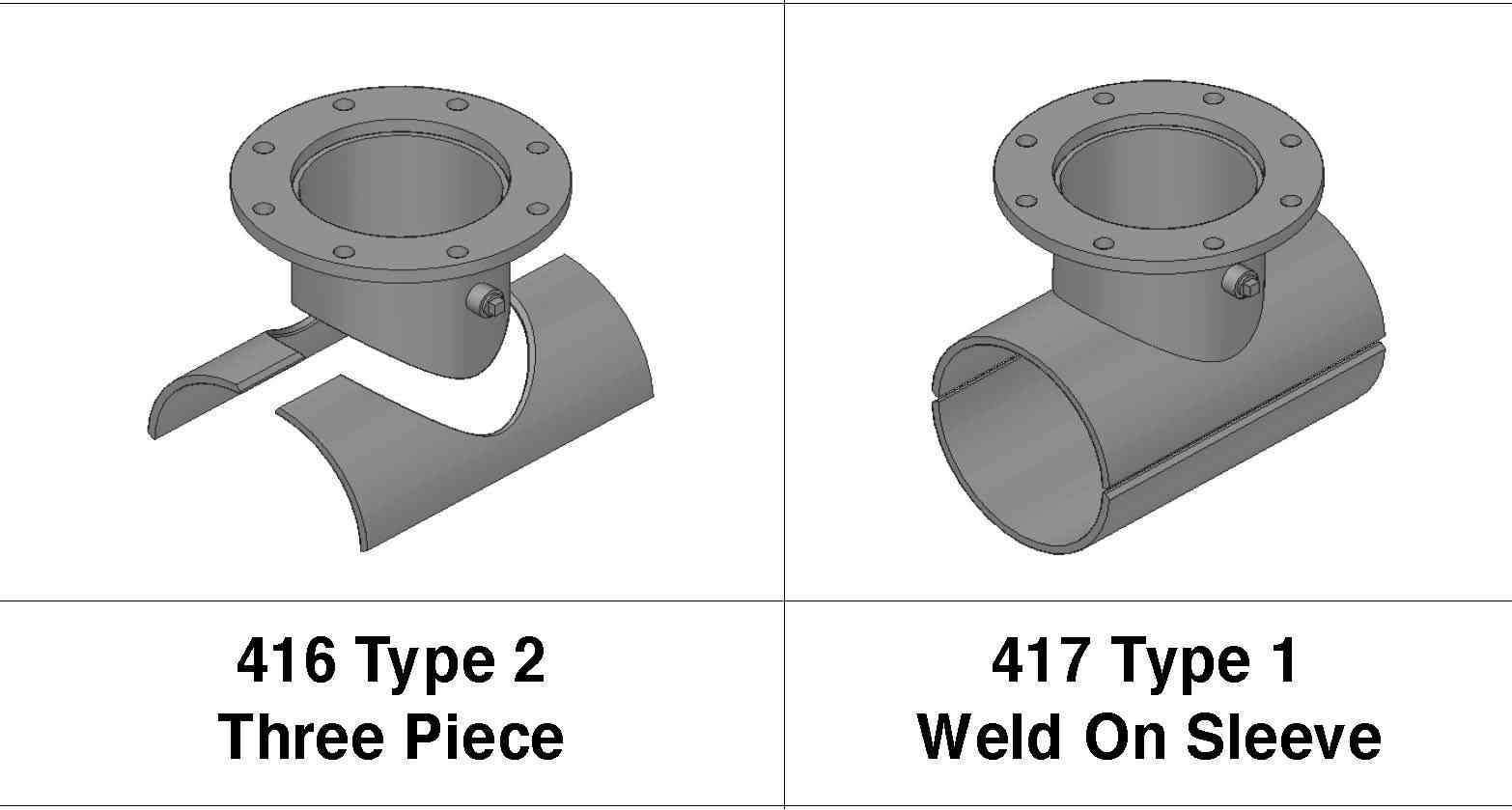 Fabricated steel and piece split weld on fittings